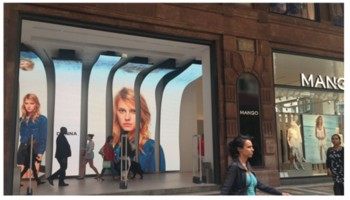 Curved LED screen (concaved or convex) for shopping mall, airport