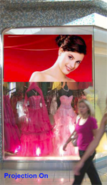 projection on switchable opaque to transparent privacy film for shop windows